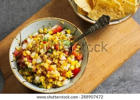 Corn salsa overhead view - stock photo
