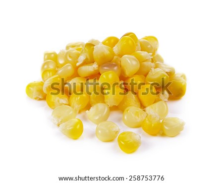 corn seeds on a over white background