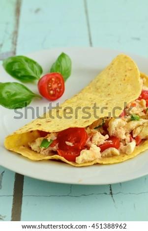 Corn Tortilla Filled Scrambled Egg White Stock Photo ...