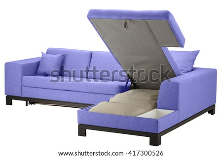 Corner couch bed with storage. Isolated on white include clipping path - stock photo