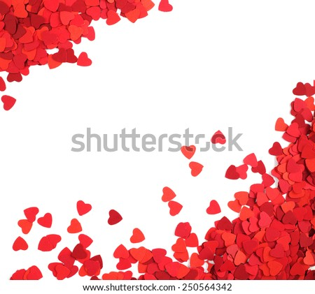 Corner frame made of paper hearts, isolated on white background, Valentines day concept - stock photo