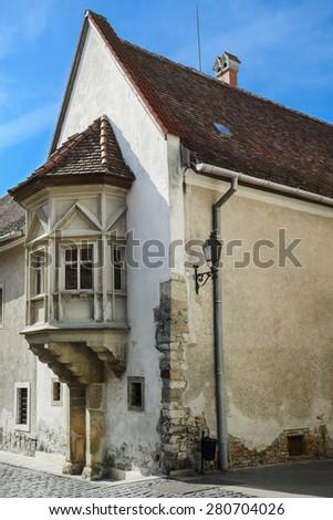 Corner House in the Old City of Szekesfehervar, Hungary - stock photo