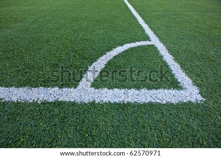 Corner Kick section closeup of a green Football, Soccer field  in a Stadium! - stock photo