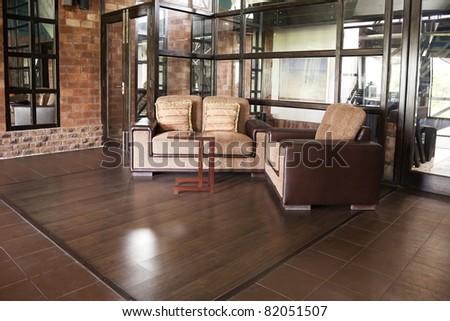 corner of a luxury modern apartment - stock photo