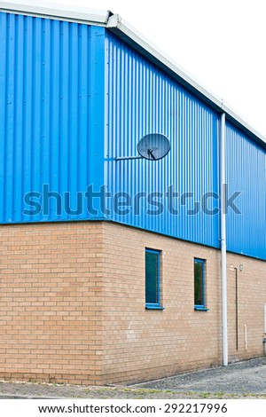 Corner of a modern warehouse building in the UK