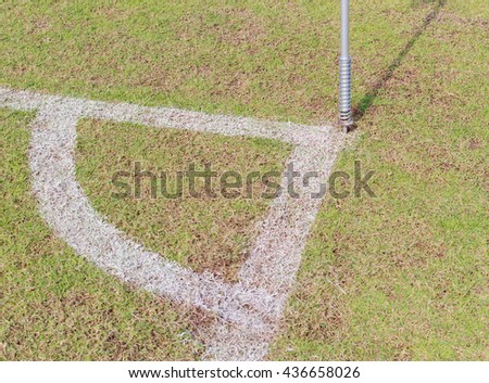 Corner of a soccer field, with flag