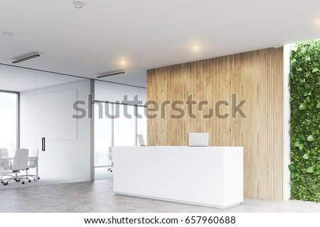 Banconi Per Ufficio Armamento : Illustrazione stock a tema corner white reception desk two laptops