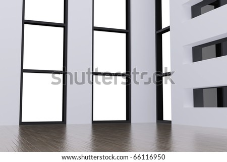 Corner of empty room in the modern house with light from windows