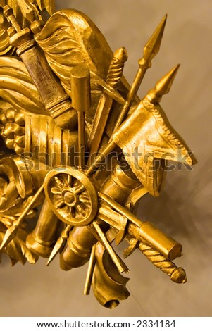 Corner of gold museum frame, with victory motives - stock photo