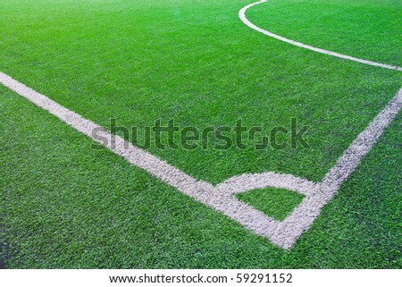 corner of green football field - stock photo