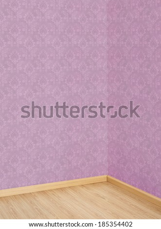 Corner of Old Room with a Wooden Floor and Pink Wallpaper  - stock photo