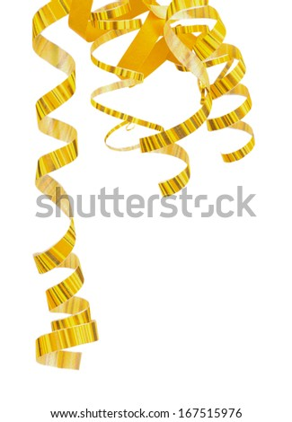 Corner of Striped Yellow Curly Hanging Down Party Streamers isolated on white background - stock photo