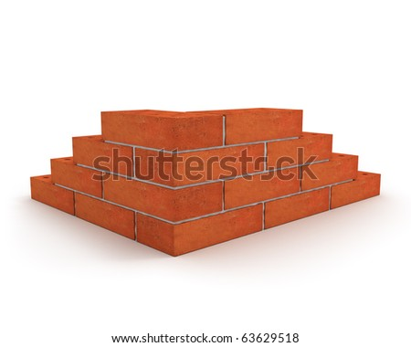 Corner of wall made from orange bricks isolated on white - stock photo