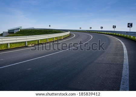 corner road in country side background - stock photo
