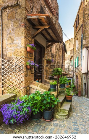 Corners of Tuscan medieval towns in Italy - stock photo