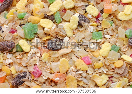 cornflakes background, closeup - stock photo