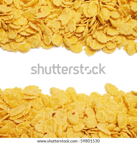cornflakes background with copy space in the center - stock photo