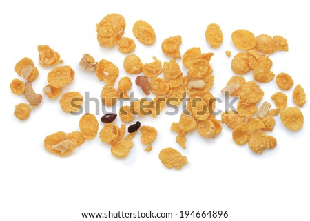 cornflakes, cereal on white background - stock photo