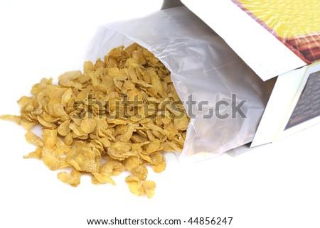cornflakes isolated on white background - stock photo