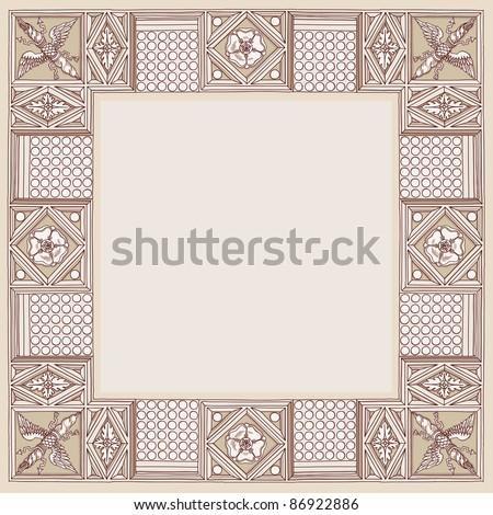 Cornice entablature - hand draw sketch doric architectural order. Bitmap copy my vector ID 84869041 - stock photo
