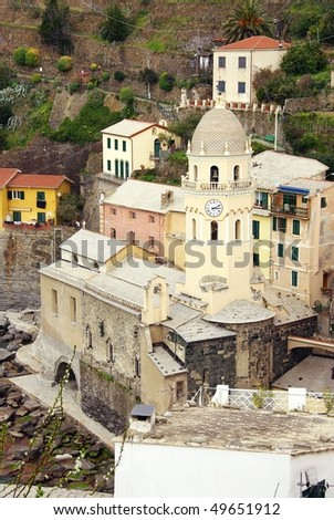 Corniglia in the national park Cinque Terre in Italy - stock photo
