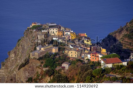 Corniglia village at sunrise, Cinque Terre, Italy - stock photo