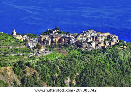 Corniglia village over the rock - Cinque terre, Italy - stock photo
