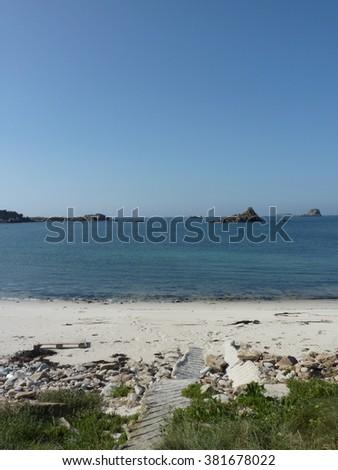 Cornish sandy beach  - stock photo