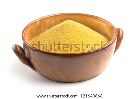 cornmeal in bowl isolated on white background - stock photo