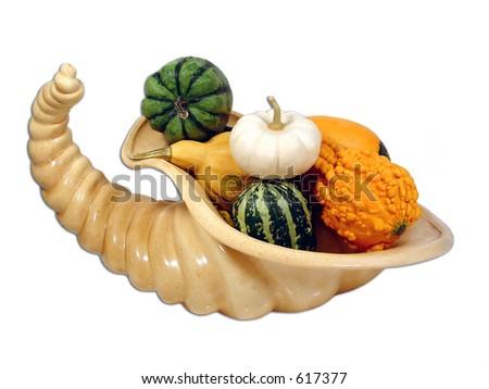 Cornucopia and gourds - stock photo