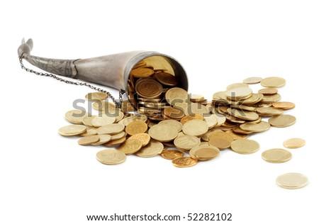 Cornucopia bone full of gold coin - stock photo