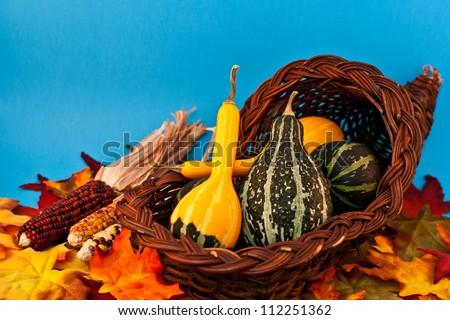 Cornucopia full of gourds - stock photo
