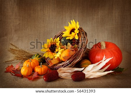 Cornucopia with pumpkins on brown background