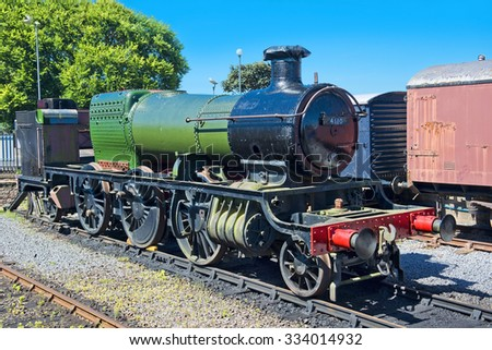 Cornwall, England - JULY 30: old locomotive at exhibition of locomotives, Minehead Railway Station, West Somerset Railway on July 30, 2015 in Cornwall, England - stock photo
