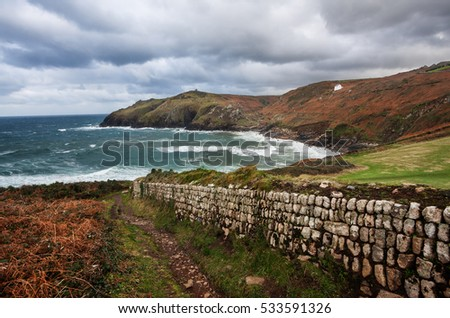 Cornwall, England: remote landscape at Cape Cornwall during a storm.