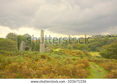 Cornwall's Industrial Heritage, the unique ruins of Jope's Shaft Engine House, South Caradon Mine, in soft evening light in Autumn, Bodmin Moor, Cornwall, England, United Kingdom