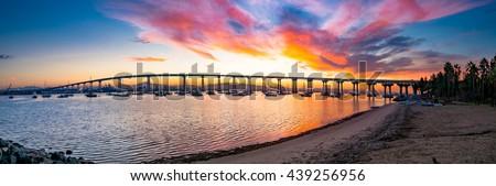 Coronado Bridge sunrise panorama.  San Diego, California USA. - stock photo
