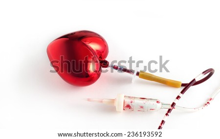 Coronary artery, and heart blood infusion set, Medical symbol concept - stock photo