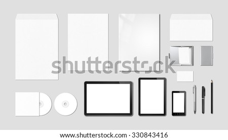Corporate branding mockup template, isolated on grey background