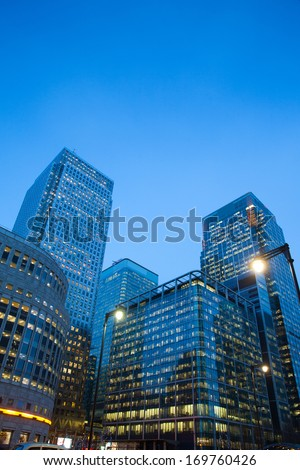 Corporate building Financial Skyscrapers Office center in the Canary Wharf, City of London  - stock photo