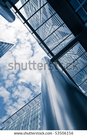 corporate buildings low angle - stock photo