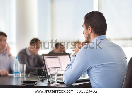 Corporate business meeting in office. Business executive giving instructions to his colleagues. Explaining business plans to employees. Business team concept. Business and Entrepreneurship.  - stock photo