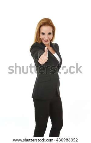 corporate business portrait attractive blond hair businesswoman giving thumb up smiling happy and confident isolated on white background in female career success - stock photo