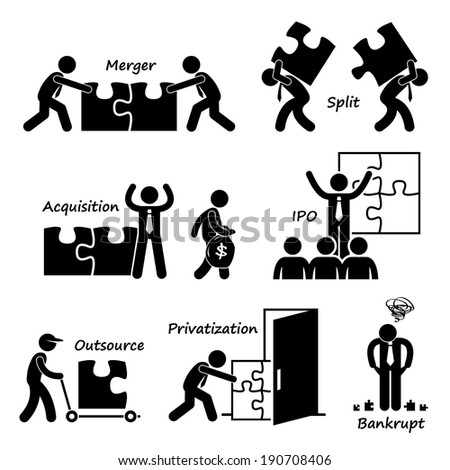 Corporate Company Business Concept Stick Figure Pictogram Icon Cliparts - stock photo