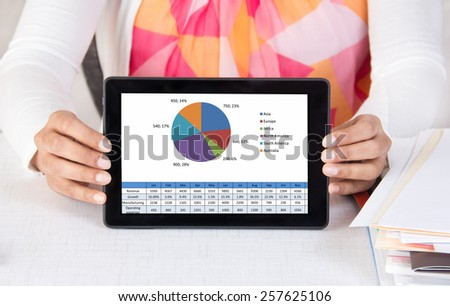 Corporate executive showing sales chart on a tablet computer