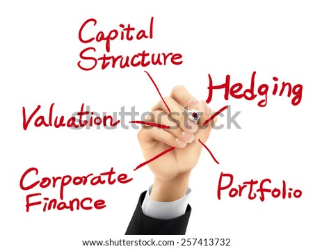 corporate finance concept written by hand on a transparent board - stock photo