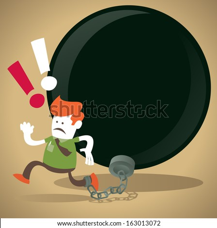 Corporate Guy is locked in a Ball and Chain. Great illustration of Retro styled Abstract Businessman caught up in a bureaucratic chain and ball. - stock photo
