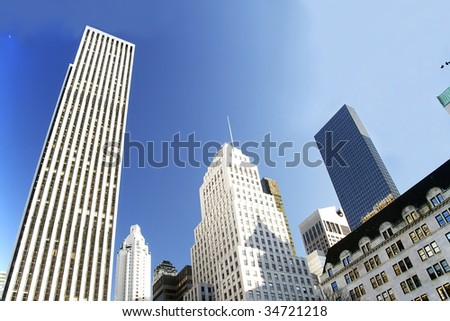 Corporate highrises. New York City. - stock photo