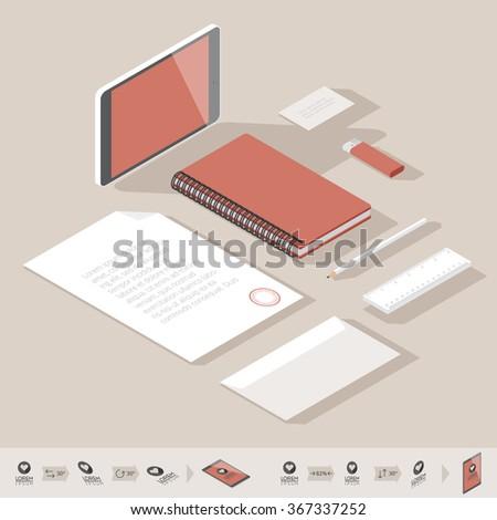 Corporate identity mock-up template. Flat isometric design. - stock photo
