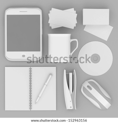 Corporate identity template on the gray background - stock photo